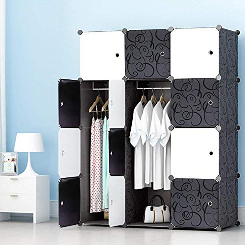 JOISCOPE Abstellschrank, Schlafzimmer Tragbare Schrank, Modularer Kunststoffschrank Mit Schiene, Schwarz und Weiß(12...