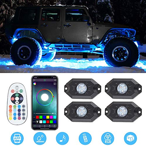 RGB LED Rock Lights -4 Pod Lights Multicolor Neon Lights Off Road Truck SUV ATV UTV Underglow Under Body Light Kit
