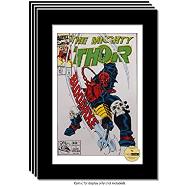 Creative Picture Frames CreativePF [4pk8x12bk-w] Collectors Art Comic Book Frame with White Mat, Insert for 6.6x10.1 Comic w/Easel Stand and Wall Hanger (4-Pack)