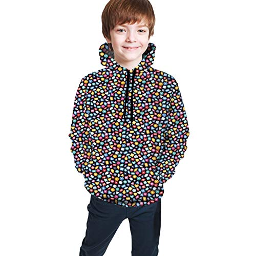 Teen Hoodies Fashion Sweatshirts,Graphic Geometric Patterns On Colorful Stones Triangles and Rhombus Crystal Design M