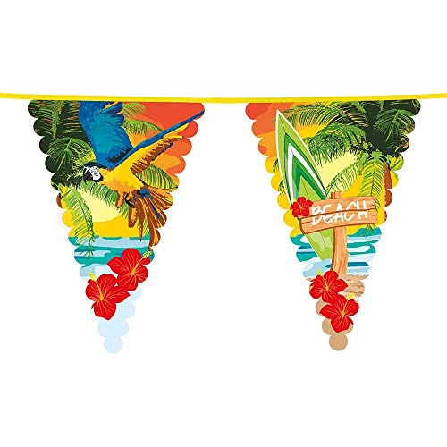 Boland 52465 - Riesenwimpelkette Beach Party, Girlande-Spielzeug, Mehrfarbig, Dekoration, Tropical, Sommer, Garten Party, Mottoparty, Beach Party