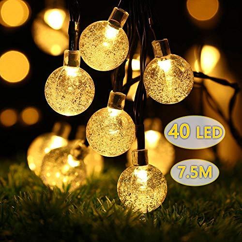 ProGreen イルミネーションライト ストリングライトLED40球 全長7.5m ソーラー充電 LED電飾 クリスマス装飾 気泡 (電球色)