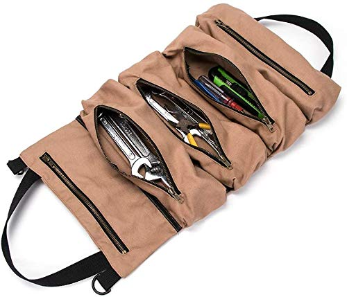 Zip Tool Roll Pouch MultiPurpose Tool Roll Up BagWrench Roll PouchCanvas Tool Organizer BucketHanging Tool Zipper Carrier ToteHandy Small Tools Tote CarrierTool PouchCar Camping Gear KHAKI