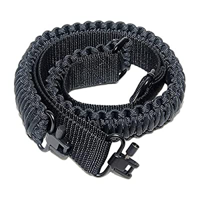 Gun Sling with 550 Paracord Adjustable Strap and swivels for Rifle or Shotgun (Black)