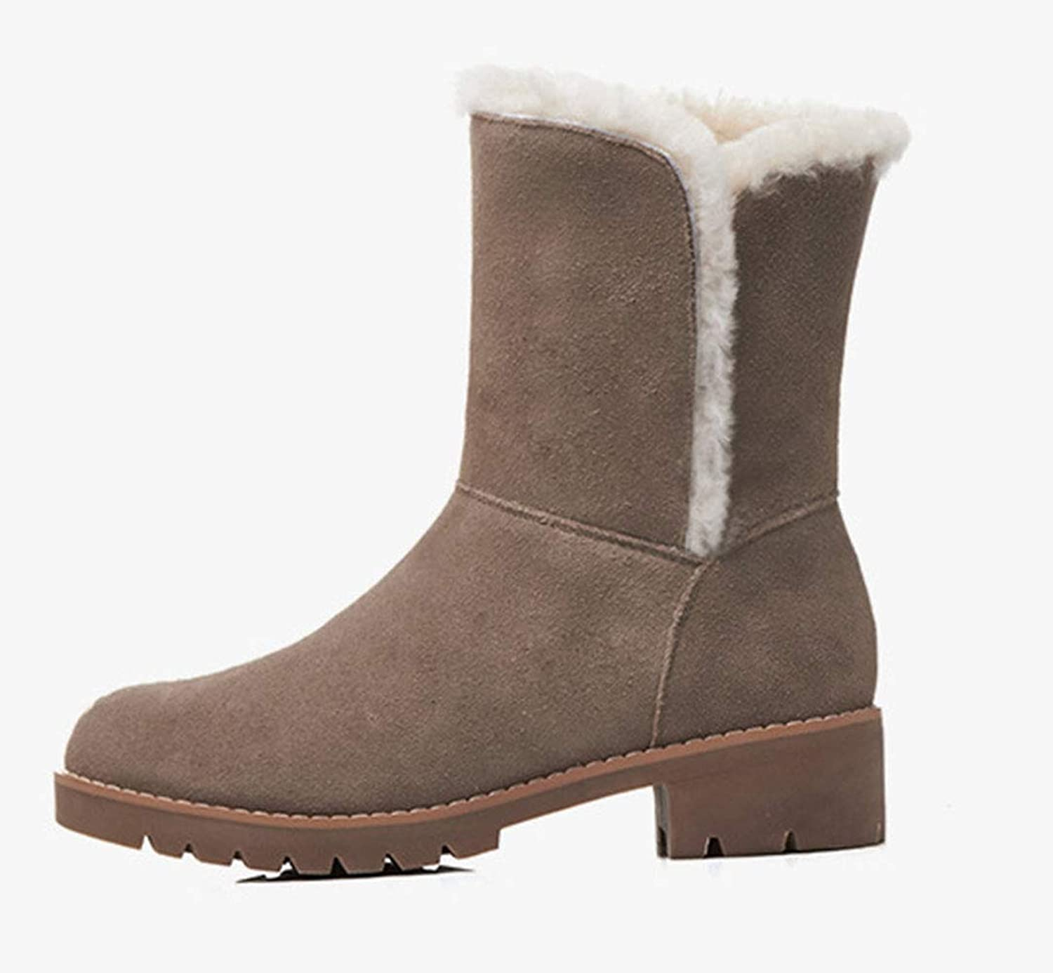 Women's Winter Snow Boots Leather Crude Heel Round Head mid Heel Short Boots Cattle Anti-Skin Lambswool Fashion Boots