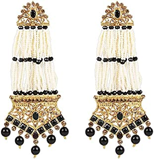 I Jewels Traditional Gold Plated Indian Bollywood Stone Studded & Pearl Earrings For Women (E2781B)
