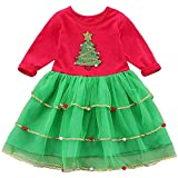 FANCYINN Vestidos de Navidad para bebés y niñas Vestido con Estampado de árbol de Navidad de Manga Larga para bebés Vestido de tutú para niños pequeños Conjunto de Ropa de 6T