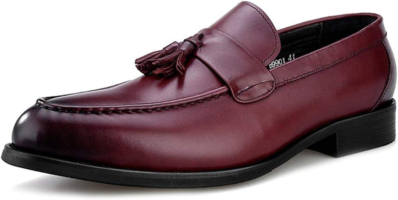Willsego Herren Leder Halbschuhe Schuhe Kleid Müiggnger Business Flache Fahrschuhe Für Mnner Zu Fu Mokassins Deck Schuh (Farbe   Rot, Gre   44)