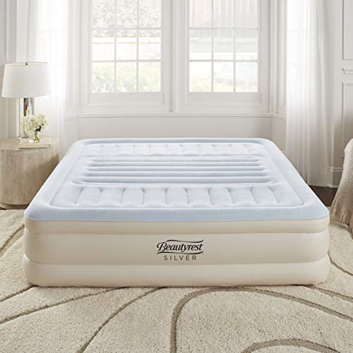 """Simmons Beautyrest Lumbar Supreme Adjustable Tri-Zone Support Air Bed Mattress with Built-in Pump, Silver, 18"""" King (MM07117EK)"""