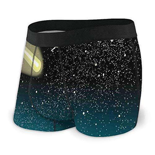 Herren Boxer Briefs, Sternschnuppen in Dark Sky bei Nacht mit Silhouette von Lonely Naked Tree Size XL
