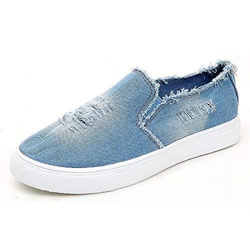 XIGE Damen Denim Beiläufige Segeltuchschuhe Flache Schuhe Der Frauen Große Einzelne Schuhe (38, Hellblau)