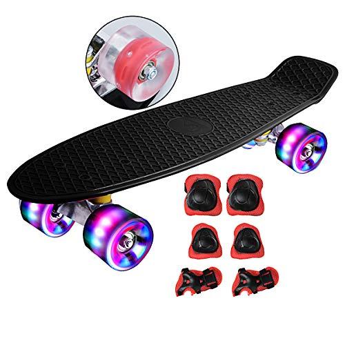 DnKelar Skateboard mit Schutzausrüstung,Mini Cruiser Retro Board für Kinder Jungenliche Mädchen Erwachsenen, LED Leuchtrollen 56x15cm Komplettboard (Schwarz)
