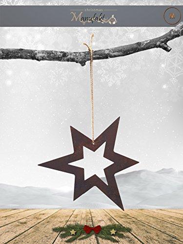 Edelrost Stern Aufhänger: Variante F / Größe M: 17cm (Offen Asymmetrisch) - Wunderschöner Weihnachtsstern, Ideal für Ihren Hauseingang, im Garten auf Ihrer Terrasse oder in der Wohnung