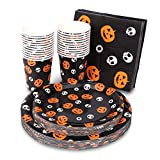 Halloween Disposable Dinnerware Set (Serves 24) – Halloween Party Supplies with 48 Paper Plates, 24 Cups & 24 Napkins – Pumpkin Jack-O-Lantern Tableware for Spooky Themed Party