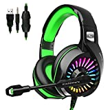 ZIUMIER Z20 Gaming Headset for PS4, Xbox One, PC, Wired Over-Ear Headphone with Noise Isolation Microphone, RGB LED Light, Surround Sound,Green