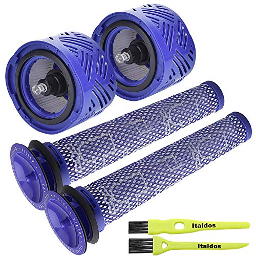 Kit Filtre Rechange pour Dyson V6 Absolute Cordless Stick (2 Pré et 2 Post Filtre) + 2 Brosses Italdos