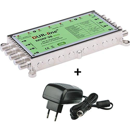 DUR-line MSRP 9/8 eco + Netzteil - Multischalter für 2 Satelliten/8 Teilnehmer - Geringe Stromaufnahme - 0 Watt Standby Multiswitch [Digital, HDTV, FullHD, 4K, UHD]
