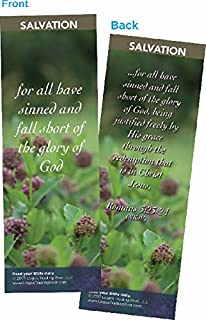 Christian Bookmark with Bible Verse, Pack of 25, Salvation Themed, For All Have Sinned and Fall Short of the Glory of God, Romans 3:23