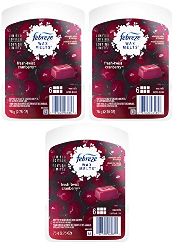 Febreze Wax Melts Air Freshener - Holiday Collection 2018 - Fresh-Twist Cranberry - Net Wt. 2.75 OZ (78 g) Per Package - Pack of 3 Packages