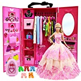 ZITA ELEMENT Doll Closet Wardrobe for 11.5 Inch Girl Doll Clothes and Accessories Storage - Lot 101 Items...