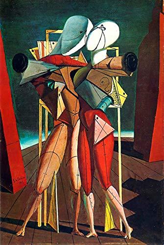 """Giorgio de Chirico Hector and Andromache 1917 Galleria Nazionale d'Arte Moderna e Contemporanea di Roma 30"""" x 20"""" Fine Art Giclee Canvas Print (Unframed) Reproduction"""