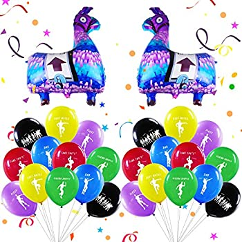 Video Game Big Llama Balloons Dancing Latex Balloons Kit Party Supplies Party Decorations Foil Balloons for Kids Boys Girls Game Theme Birthday Baby Shower 62 Pack