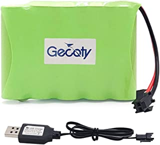 Gecoty 6V aa Battery Pack,Upgrade 2400mAh Rechargeable Batteries Pack,Ni NH Battery with Charge Cable,SM 2P Plug for RC Truck Cars