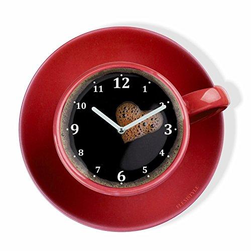 FLEXISTYLE Orologio da Parete da Cucina LA TAZZINA, Tazza Rossa per Il caffè, Design Moderno, plexiglass, Made in EU, Silenzioso 30 cm