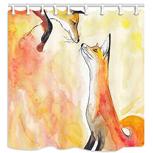 123456789 Tier Duschvorhänge, Zwei orange Füchse auf einem orangefarbenen Aquarell Duschvorhänge für Badezimmer wasserdichte Stoff Badzubehör