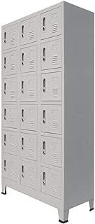 vidaXL Locker Cabinet with 18 Compartments Storage Organizer Office Cabinet Wardrobe Locker-Style Cabinet Easy Assembly Metal Gray
