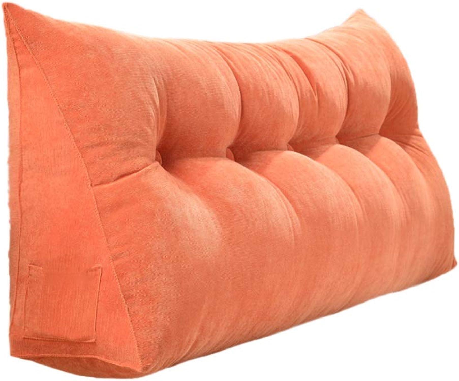 KjinZ Oreiller multifonctionnel, couleur unie lavable en coton, facile à nettoyer, coussin de fonction de rangeHommest latéral avec coussin Confortable (Couleur   Orange, taille   90cm)