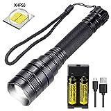 [Mise à Niveau 2020] Lampe de poche LED Rechargeable Puissante 4000 lumens, XHP50 5 Modes Étanche Zoomable Torche LED avec USB Chargeur + 18650 Pile