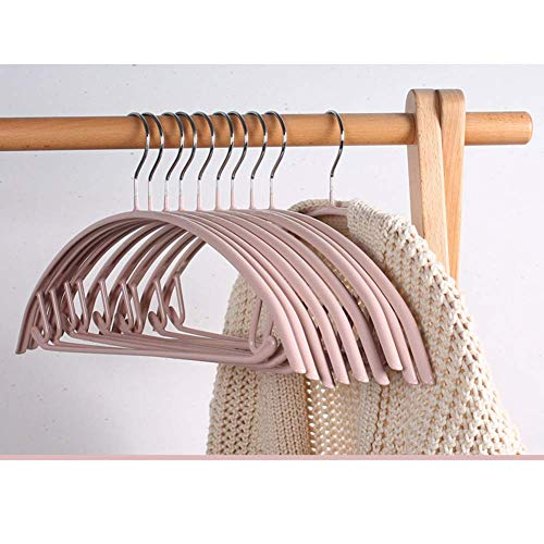 LQH Edelstahl Starke Metalldrahtaufhänger rutschfeste Kleiderbügel, Hochleistungs-Platz sparen gekerbter Kleiderbügel Standardaufhänger (Pack mit 10) -Gray 42x20cm (17x8inch)