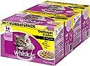Whiskas 1 + Katzenfutter , Geflügel-Auswahl in Sauce, 2 x 24 x 100g