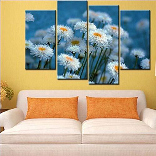 Axqisqx muurschildering 4-delig, geschenk, kantoor, woonkamer, huis, kunstdruk, voor de muur, gepersonaliseerd motief, kerstcadeau, margriet, plant 20x40cmx2 20x60cmx2 Encadré