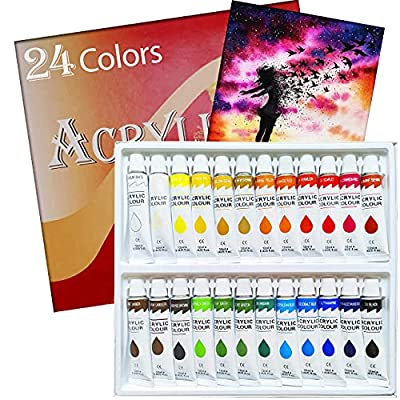 Amazon - 65% Off on Acrylic Paint Set 24 Colors Tubes Acrylic Paints for Painting Non Toxic Paint Sets for Kids
