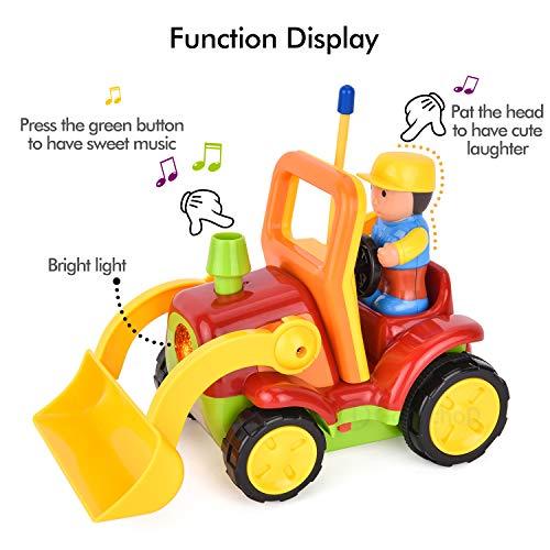 RC Auto kaufen Baufahrzeug Bild 3: Gotechod Ferngesteuerter Bagger, Cartoon RC Radlader mit Licht Musik Greifer, Spielzeugauto mit Fernbedienung für Kleinkind Kinder ab 2 Jahren*