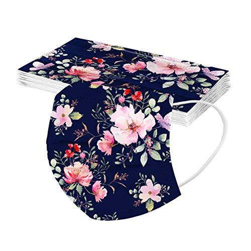 RUITOTP 10/50pcs Unisex Erwachsene Protektor Blume Schal - Mode Universal niedlich Print 3 Schicht elastische Earloop weichen Schal für Frauen Männer-21130-29