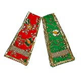Set of 2 Decorative Puja Cloth Pataka Chunari, Pooja Chunar Dupatta (Size :- 16 Inches x 3 Inches) Pooja Items Articles for Decoration for Statue Frame Idol Temple, ( Red + Green )