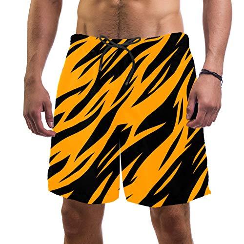 Pantalones cortos de playa de surf para hombre, de secado rápido, con bolsillo, rayas de tigre de cebra