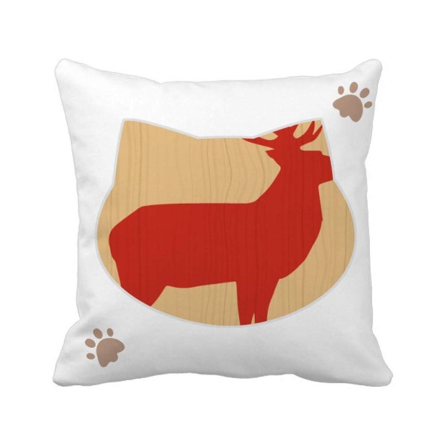 素晴らしさ寂しいプール鹿の動物の赤木目 枕カバーを放り投げる猫広場 50cm x 50cm