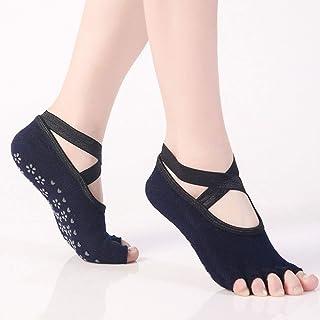 BXGZXYQ, BXGZXYQ Calcetines de Encaje sin Dedos Yoga Calcetines Mujer pavimento Deportivo Profesional de Yoga Antideslizantes (Color : Navy)