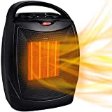 GiveBest Portable Electric Space Heater, 1500W/750W ETL Certified Ceramic Heater with Thermostat, Heat Up 200 sq. Ft in Minutes, Safe & Quiet for Office Room Desk Indoor Use (T-Black)