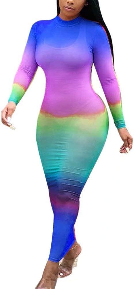 KOOBETON Women Sexy Long Sleeve Rainbow Sheer Mesh Bodycon Bikini Cover Up Dress