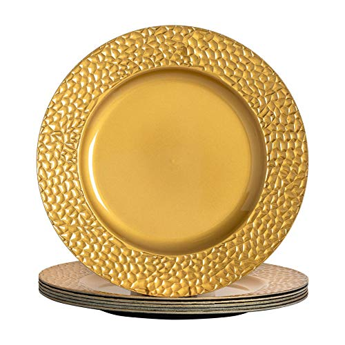 Argon Tableware Rundgehämmerter Unterteller, Tischmattenset in Gold - 330 mm - 6er Packung