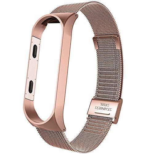 FAAGFC Correa de metal para Xiaomi Mi Band 4, correa de reloj inteligente para Xiaomi Miband 3, correa de repuesto transpirable (color: rosa rosa, tamaño: para mi band 4)