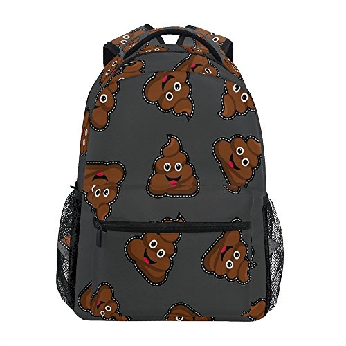 ALAZA Retro Brown Cute Poop Emoji Durable Backpack Book College School Travel Backbag Shoulder Bag for Women Girls Men Boys