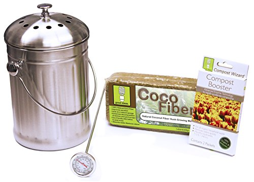 %5 OFF! Good Ideas CW-STA3QT-SST Stainless Compost Wizard Pail Essentials Kit