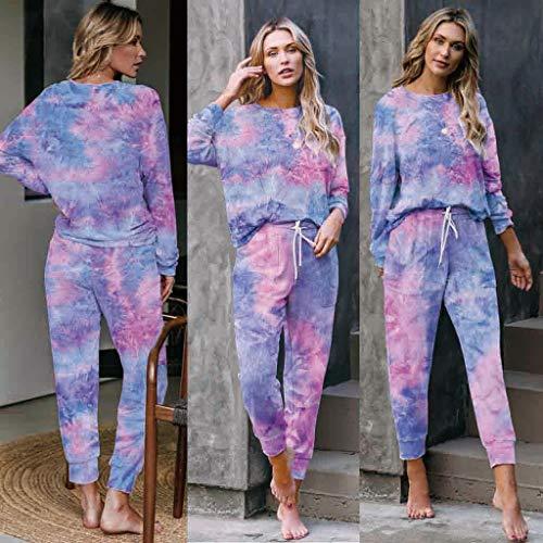Damen Tie-Dye Print Langarm Tops + Lange Hosen 2-teiliges Sweatshirt Hosen Set