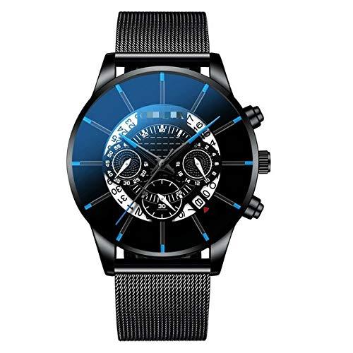 Herrenuhr Edelstahl Kalender Quarz Armbanduhr Herren Sportuhr Uhr Genf Uhr Stunden 26cm Schwarz Blau